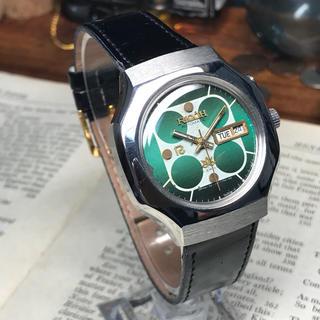 リコー(RICOH)の80's ビンテージ リコー 自動巻メンズ時計 OH済 グリーン 四つ丸(腕時計(アナログ))