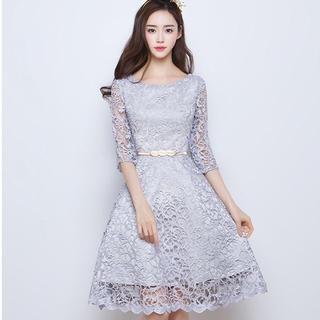 刺繍  シルバードレス(ミディアムドレス)