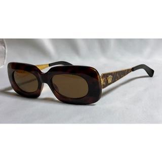 ジャンニヴェルサーチ(Gianni Versace)の正規 ヴェルサーチ ヴィンテージ メデューサロゴ装飾 サングラス 茶×ゴールド(サングラス/メガネ)