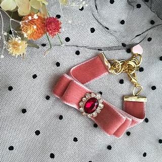 リズリサ(LIZ LISA)のピンク ベロアリボンブレスレット(ブレスレット/バングル)