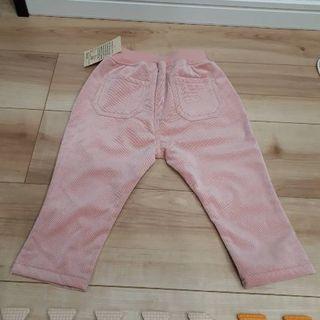 ムジルシリョウヒン(MUJI (無印良品))の新品未使用・無印良品 コーデュロイ調裏フリースイージーパンツ ピンク 80サイズ(パンツ)