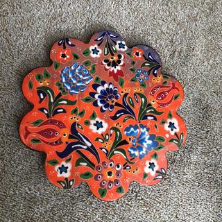 鍋敷き 陶器花柄(キッチン小物)