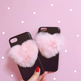 ~ 韓国 オルチャン ❤︎︎ ファーハートiPhoneケース ~(iPhoneケース)