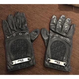 ディオール(Dior)の正規品クリスチャンディオールDIOR革手袋ロゴカッコいい系(手袋)