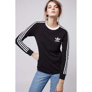 アディダス(adidas)のadidas★3ストライプス ロング スリーブ Tシャツブラック 【S~M】(Tシャツ(長袖/七分))