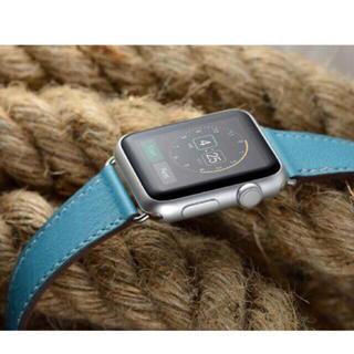 Apple Watch アップルウォッチ 交換用レザーベルト 青 38/42㎜(腕時計(デジタル))