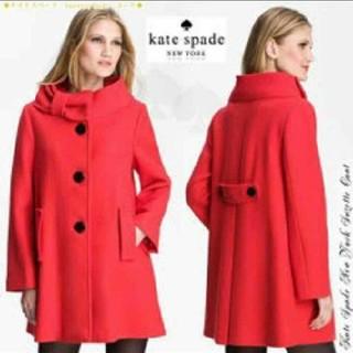 ケイトスペードニューヨーク(kate spade new york)の美玲様 専用 kate spade ケイト・スペード リボン コート 赤(ロングコート)