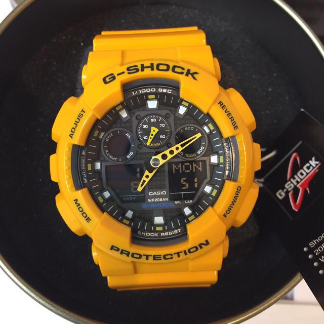 G-SHOCK(ジーショック)の新品未使用★CASIO G-SHOCK ジーショックGA-100B防水腕時計黄色 メンズの時計(腕時計(デジタル))の商品写真