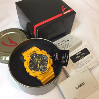 ジーショック(G-SHOCK)の新品未使用★CASIO G-SHOCK ジーショックGA-100B防水腕時計黄色(腕時計(デジタル))
