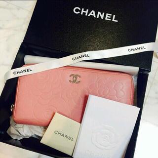 シャネル(CHANEL)のrt様専用♡CHANEL♡カメリアエンボス長財布♡ピンク(財布)