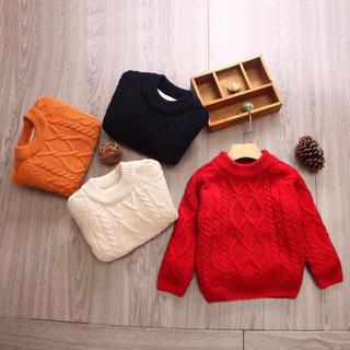 キッズ 男の子 女の子 ケーブル編み ニット セーター カラーニット ニットソー(ニット)