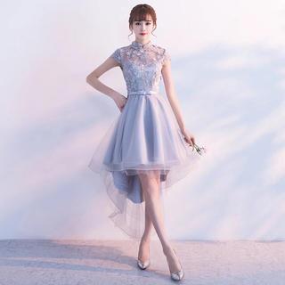 a4b2265136220 ハイネック刺繍チャイナ風ワンピース 、パーティドレス 二次会演奏会ドレス舞踏会