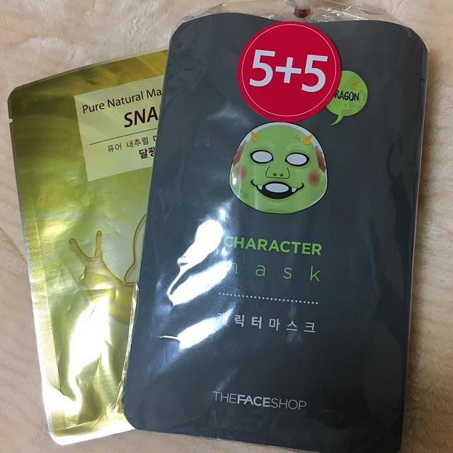 THE FACE SHOP(ザフェイスショップ)のキャラクターマスク10枚+1枚 コスメ/美容のスキンケア/基礎化粧品(パック/フェイスマスク)の商品写真