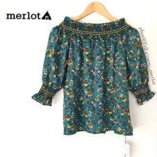 メルロー(merlot)のmerlot*メルロー*2wayオフショルボタニカルトップス(シャツ/ブラウス(半袖/袖なし))