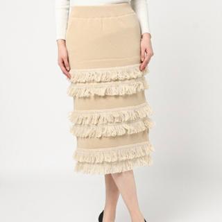 ルシェルブルー(LE CIEL BLEU)のループフリンジハイバル ニットスカート ベージュ(ひざ丈スカート)