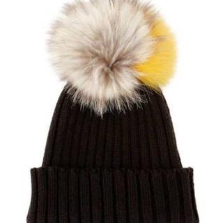 ルシェルブルー(LE CIEL BLEU)のルシェルブルー リアルファー付きニット帽  ニットキャップ(ニット帽/ビーニー)