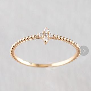 ノワールドプーペ K10 シンプルダイヤモンド フラワー ピンキーリング 5号(リング(指輪))