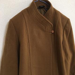 古着 大きいサイズ ラムウールノーカラーコート(ロングコート)