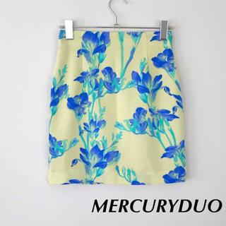 マーキュリーデュオ(MERCURYDUO)の美品♦︎MERCURYDUO 花柄 タイトスカート イエロー  ブルー S(ミニスカート)