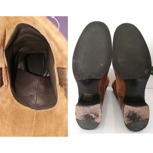 PRADA(プラダ)の正規 PRADA スウェード レザー ブーツ ブーティ キャメル ブラウン 良品 レディースの靴/シューズ(ブーツ)の商品写真