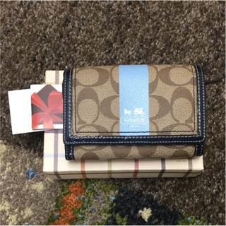 コーチ(COACH)のコーチ 二つ折り財布 シグネチャー ブルー系(41657)(財布)