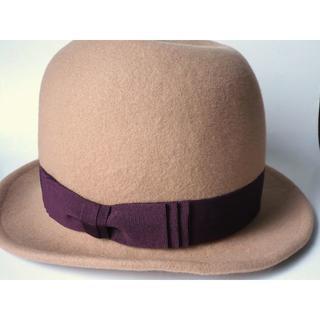 カシラ(CA4LA)の新品 CA4LA カシラ ウールフェルトハット ベージュ帽子 リボン中折れハット(ハット)