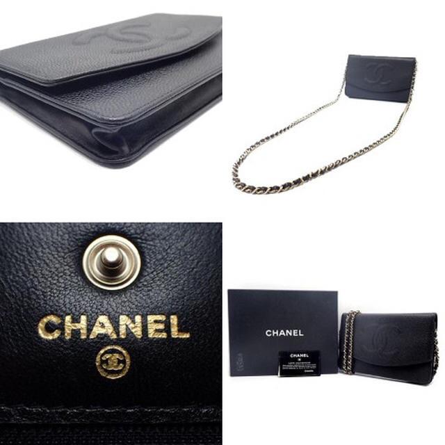 CHANEL(シャネル)のシャネル チェーンウォレット ココステッチ 財布 キャビアスキン ブラック 黒 レディースのファッション小物(財布)の商品写真