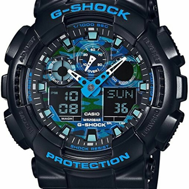 カシオ Gショック G-SHOCK GA-100CB-1A ブルーカモフラ メンズの時計(腕時計(デジタル))の商品写真
