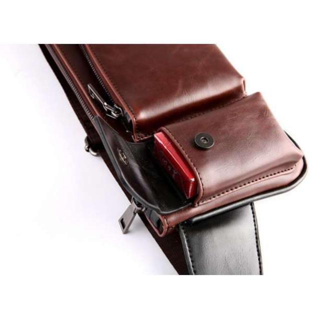 *夏の特価★ レザーショルダーバック メンズ お洒落 メンズのバッグ(ボディーバッグ)の商品写真