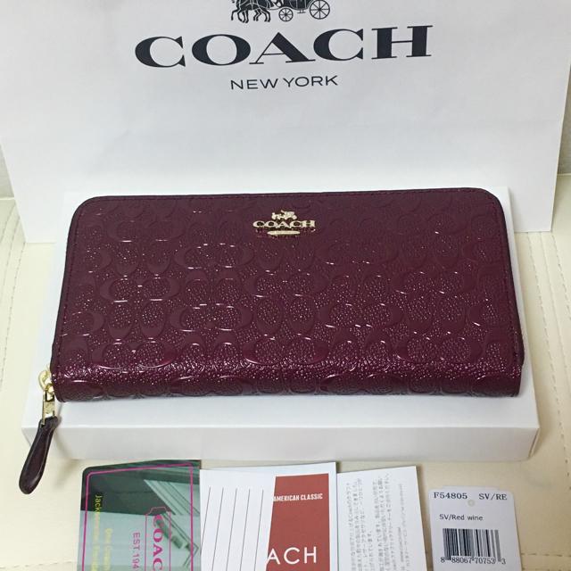 COACH(コーチ)のブラック・ワイン レディースのファッション小物(財布)の商品写真