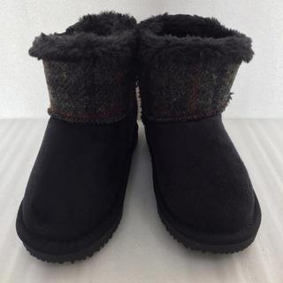 シマムラ(しまむら)の新品 ハリスツィード しまむら ムートンブーツ  18cm 黒 ブラック(ブーツ)