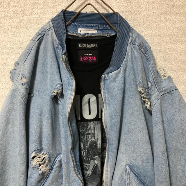ZARA(ザラ)のZARA クラッシュデニム MA1 タイプ メンズのジャケット/アウター(ブルゾン)の商品写真