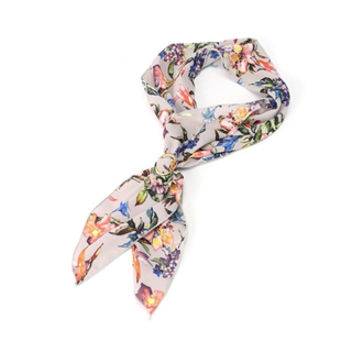 ジーナシス(JEANASIS)のスカーフ リング付きスカーフ ジーナシス グレー 花柄(バンダナ/スカーフ)