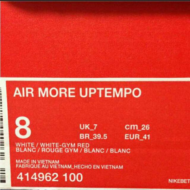 NIKE(ナイキ)の NIKE Air More Uptempo white/red メンズの靴/シューズ(スニーカー)の商品写真