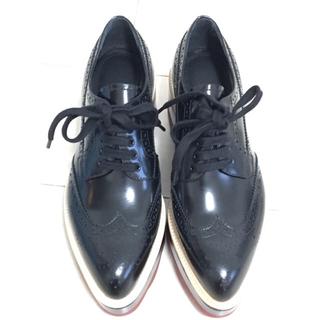 プラダ(PRADA)のプラダ プラットフォーム レースアップ シューズ(ローファー/革靴)