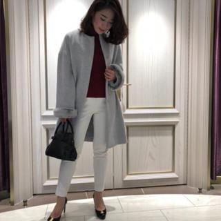 エムプルミエ(M-premier)のM-PREMIER♡新作コート♡ポイントファーコート♡34♡新品未使用♡グレー(ロングコート)