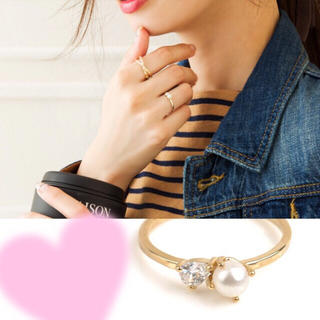 パール&ビジュー♡シンプル♡ゴールドリング♡指輪(リング(指輪))
