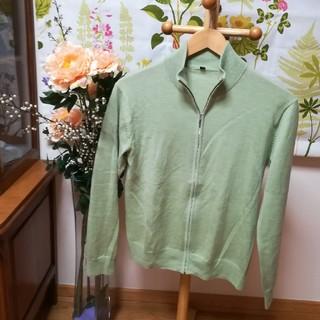 ムジルシリョウヒン(MUJI (無印良品))の✨良品計画 ウールセーター ジップアップ 黄緑色Sサイズ♪(ニット/セーター)