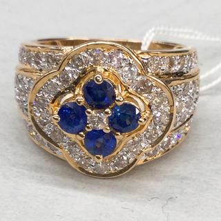 K18 天然サファイア 天然ダイヤモンド リング(リング(指輪))