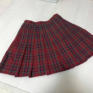 美品 コムサ COMME CA 160A 赤チェック プリーツスカート