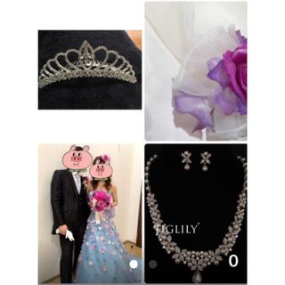 ティグリリーのバッグや小物付き6点セットブルーお花ドレス(ウェディングドレス)