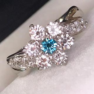 🌹ミント様専用❣️絶品照りと輝き 美カット ブルー& ホワイト ダイヤリング(リング(指輪))