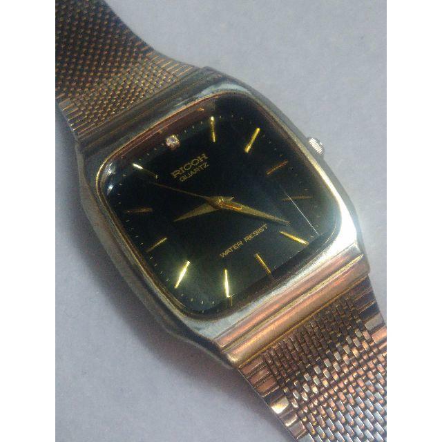 the latest f8df1 9bffd 腕時計 リコー クォーツ メンズ 中古 黒金 | フリマアプリ ラクマ