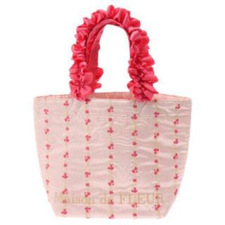 メゾンドフルール(Maison de FLEUR)の新品 メゾンドフルール ハンドバッグ ランチバッグ フラワー 花 刺繍(ハンドバッグ)