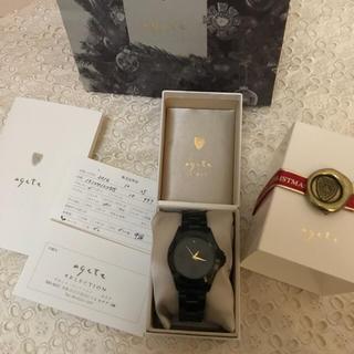 アガット(agete)のageteレディースウォッチ腕時計極美品黒アガット(腕時計)