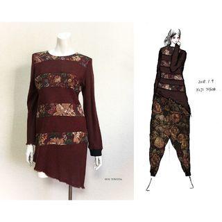 【1点もの・デザイン画付き】ゴブラン織り切り替えボーダートップス(ニット/セーター)