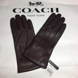 コーチ(COACH)の【新品】COACH★レザー 手袋 ブラウン(手袋)