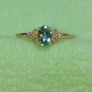 ADA Noble K18 アクアマリン ダイヤモンド ピンクゴールド リング(リング(指輪))