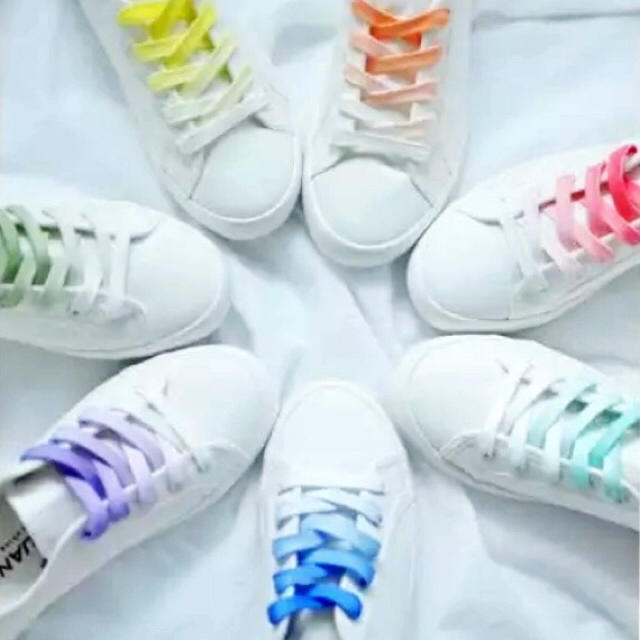レア☆靴ひも シューレース グラデーションカラー レインボー レディースの靴/シューズ(