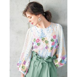 チェスティ(Chesty)の【Chesty】Tulle Embroidery Tops ホワイト サイズ1(シャツ/ブラウス(長袖/七分))